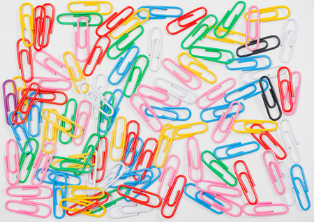 wire pin: paper clips on white background Stock Photo