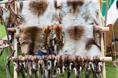 jousting: Fur and wool stand on a medieval market Stock Photo