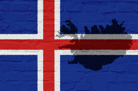 iceland flag: Iceland Flag on a white stone wall Stock Photo