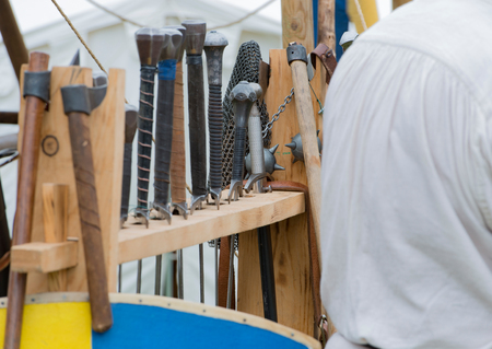 swordfight: Medieval weapons on a medieval market