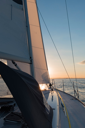 spinnaker: Sailing yacht in the trip on the North Sea Stock Photo