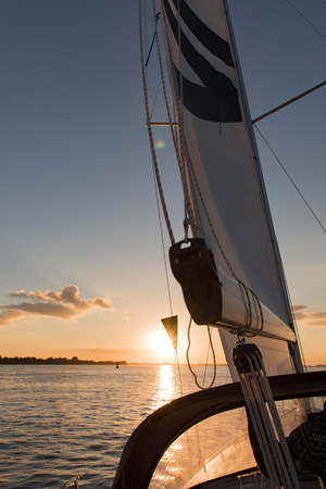 spinnaker: Sailing yacht in the trip on the Elbe Stock Photo