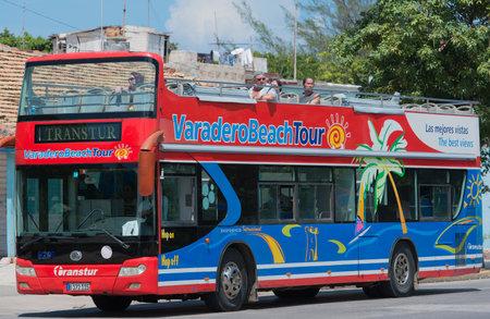varadero: Varadero Beach Tour bus on the streets of Varadero Editorial
