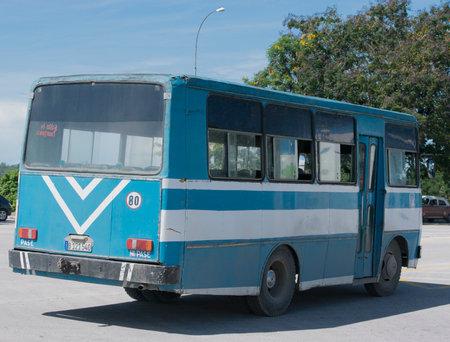 varadero: classic bus on the streets of Varadero