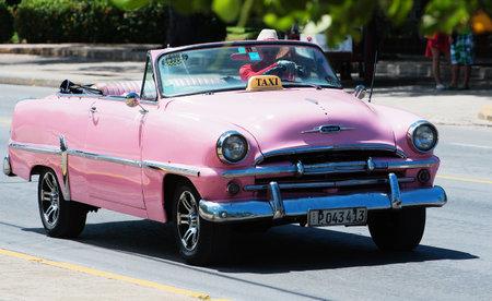 varadero: Pink American Classic Car Cabriolet dirves in Varadero City, Cuba