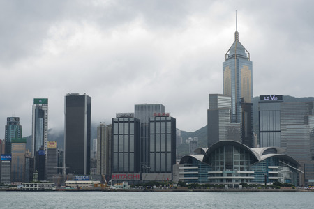 rebuilt: Hong Kong building is being rebuilt with smog cloud Editorial