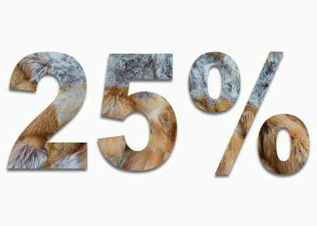 fox fur: 25% red fox fur in a font trained Stock Photo