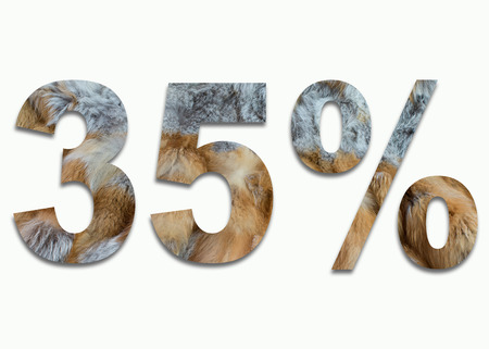 luxuriously: 35% red fox fur in a font trained Stock Photo