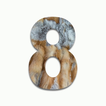 8 red fox fur in a font trained Stock Photo