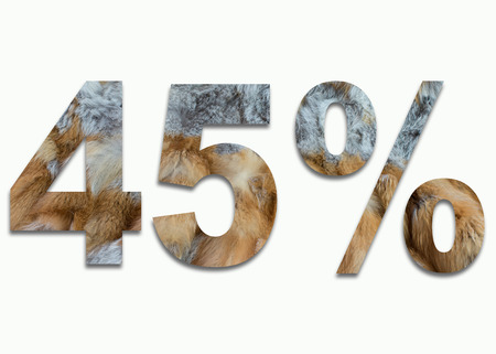 luxuriously: 45% red fox fur in a font trained Stock Photo