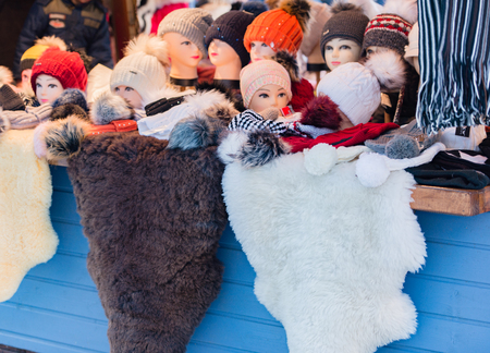 stole: fur accessories on a Christmas market Stock Photo