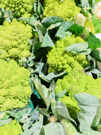 Romanesco vegetables on a fruit and vegetable market