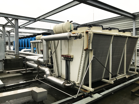 aggregates: Refrigeration system and heat pump with pipeline of air conditioning Stock Photo