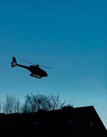 Helicopter starts at night over residential area