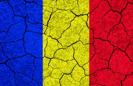 Romania flag on a white stonewall edited Stock Photo