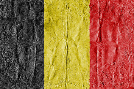 Belgium flag on a paper in close-up Stock Photo