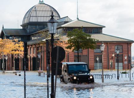 Storm surge St.Pauli fish market in Hamburg