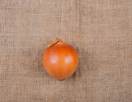 onion photographed on a jute fabric Stock Photo