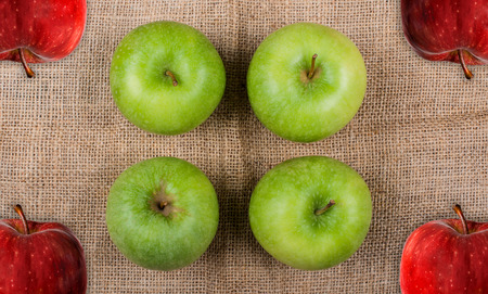 Apples photographed on a jute fabric