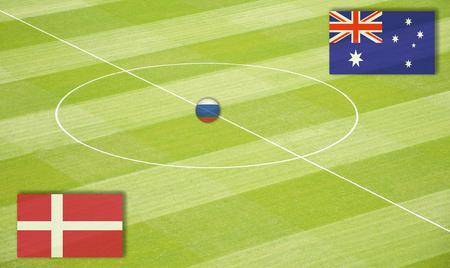 Soccer field mating Denmark against Australia Stock Photo