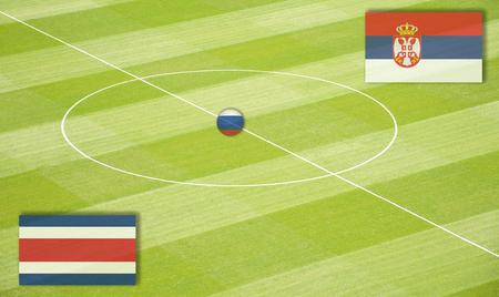 セルビア戦のコスタリカを交尾サッカー場 写真素材