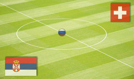 Soccer field mating Serbia against Switzerland