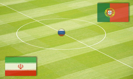 Soccer field mating Iran against Portugal