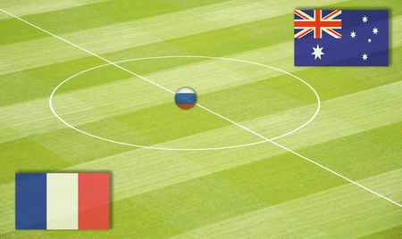 Soccer field with the  mating France against Australia