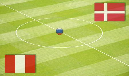 デンマークとのサッカー場ペルー 写真素材