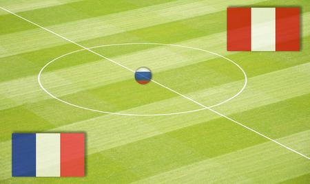Campo de futebol com o acasalamento França contra o Peru Foto de archivo - 91210973