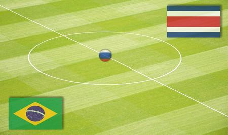 交配コスタリカに対してブラジル ワールド カップのサッカー場 写真素材