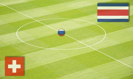 コスタリカとのワールドカップでスイスと対戦するサッカー場
