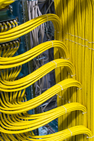 Network cable on a network HUB in the data center