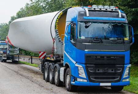 Wind energy, heavy transport of rotor blades Stock fotó