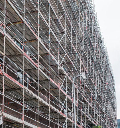 Scaffolding attached to a building