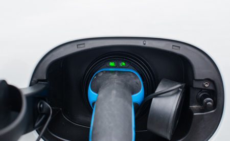 Charging station for electric vehicles in a detailed view