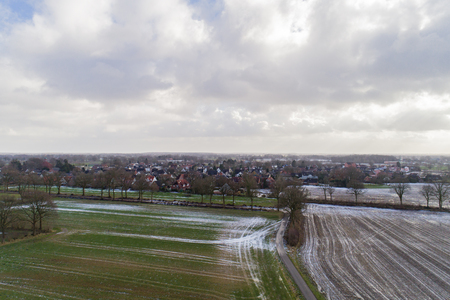 Aerial view of corn fields after a rainy season