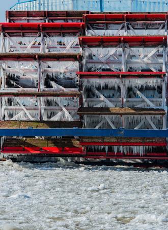 Paddle wheeler is iced in Hamburg