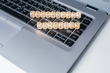 Credential stuffing word on notebook keyboard
