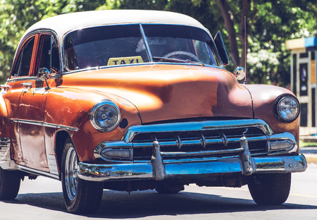 HDR Photo American Classic car on street in Havana Cuba