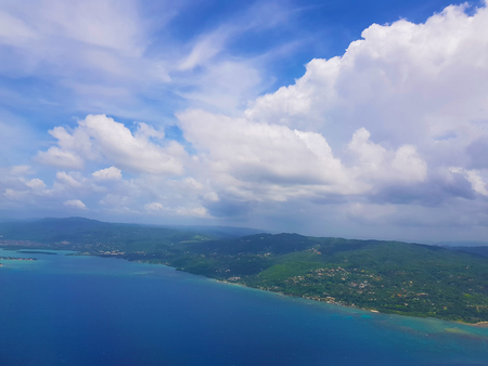 Jamaica from the air as an aerial view