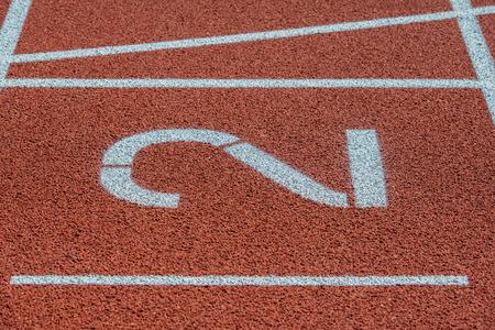 Runway mark on an athletics track Фото со стока - 103471736