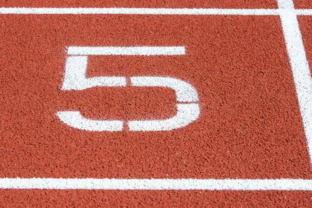 Runway mark on an athletics track Фото со стока - 103473619