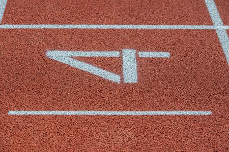 Runway mark on an athletics track