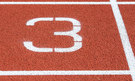 Runway mark on an athletics track Фото со стока - 103473303