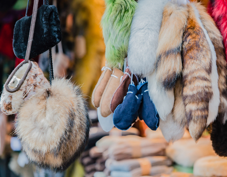 Fur and for sales at the Christmas market in Hamburg