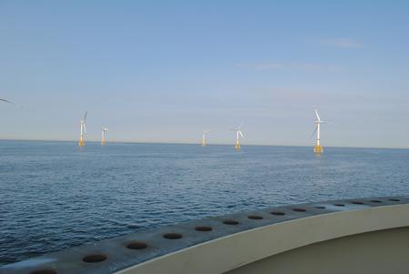 Wind energy company is building a wind farm in Belgium Archivio Fotografico