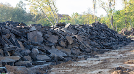 Gravel pile after a demolition building on a building site Imagens
