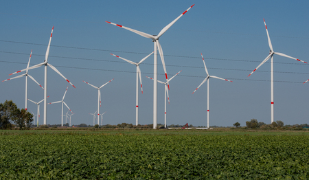 Wind turbines onshore at the North Sea coast of Schleswig Holstein