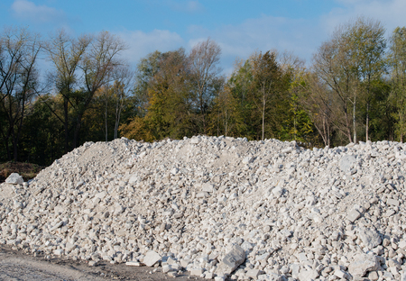 Gravel pile after a demolition building on a building site 版權商用圖片